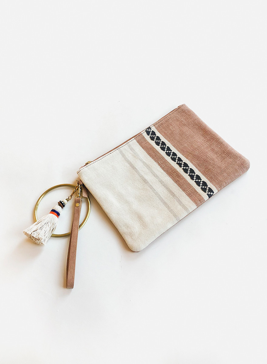 Bloom & Give Paula Leather Clutch - Ivory