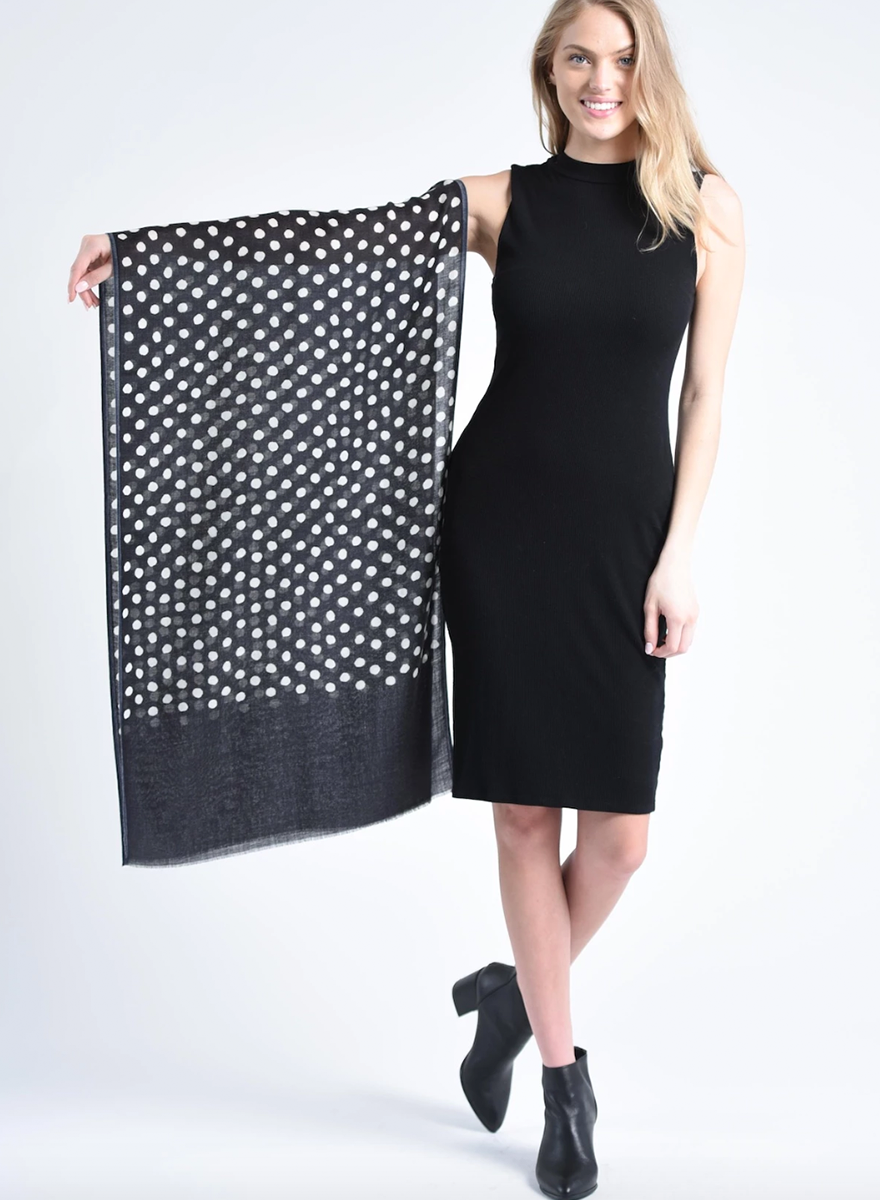 Bloom & Give Maya Dot Scarf - Black
