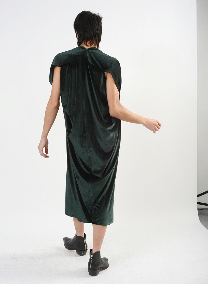 Velvet Abstraction Dress - Forest