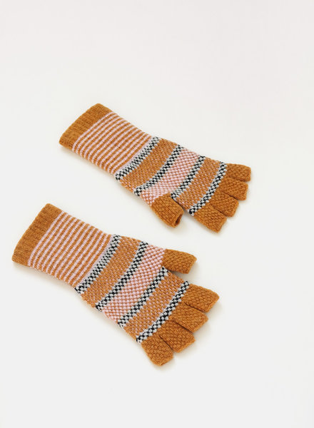 QC Fingerless Gloves - Ochre/Pink