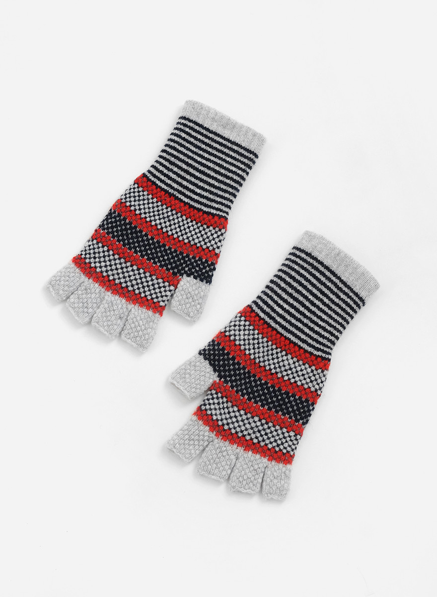 QC Fingerless Gloves - Grey/Red