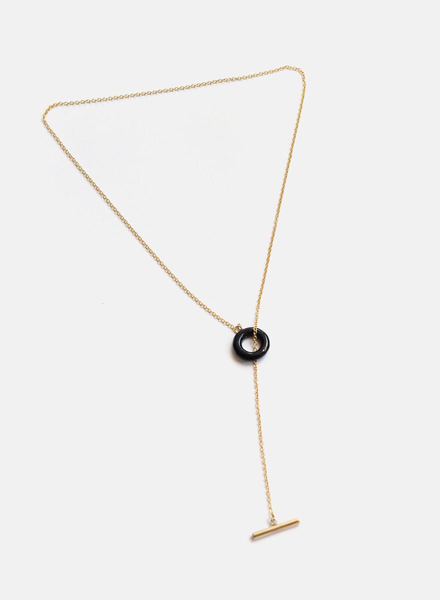 Soko Soko - Kumi Lariat Necklace - Brass/Black