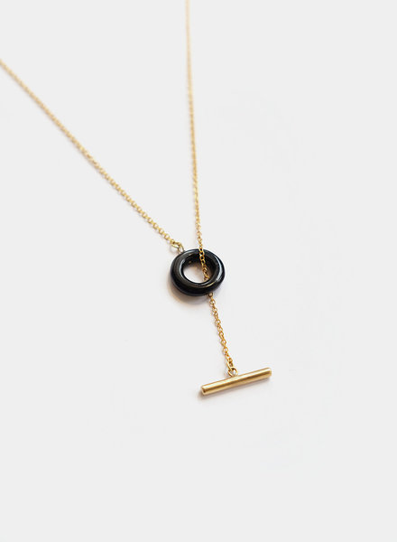 Soko Soko - Kumi Lariat Necklace - Brass/Black