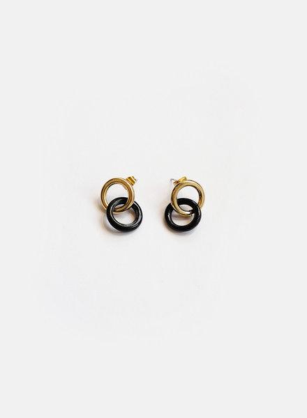 Soko Soko - Kumi Link Studs - Brass/Black