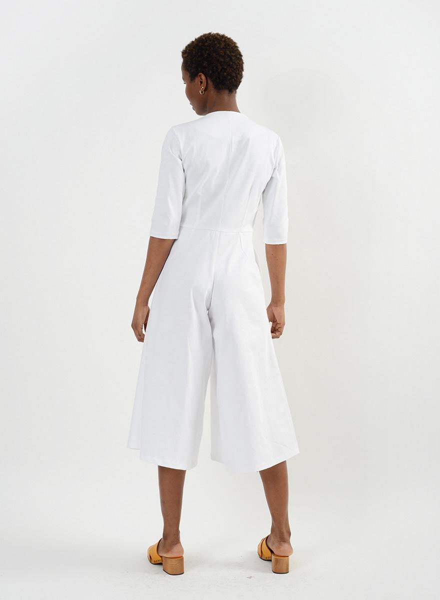 Round Pocket Jumpsuit - White