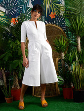 Round Pocket Jumpsuit - White