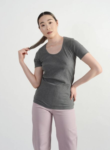 Scoopy Tee - Heather Grey