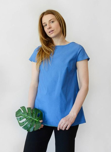 Button Back Top - Cornflower