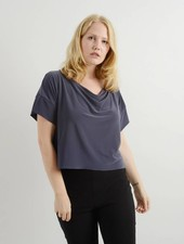 Cowl Neck Tee - Charcoal