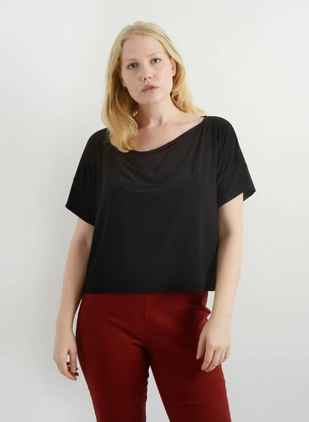 Cowl Neck Tee - Black