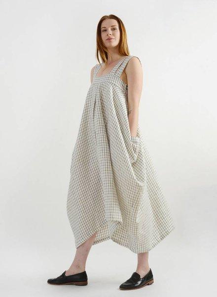 Amelia Four Strap Dress - White Check