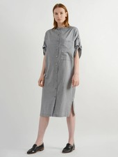 Herringbone Shirt Dress - Black