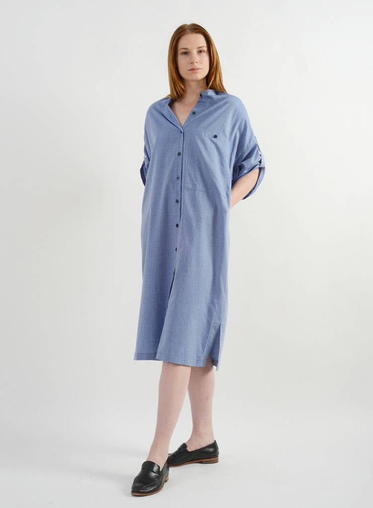 Herringbone Shirt Dress - Navy