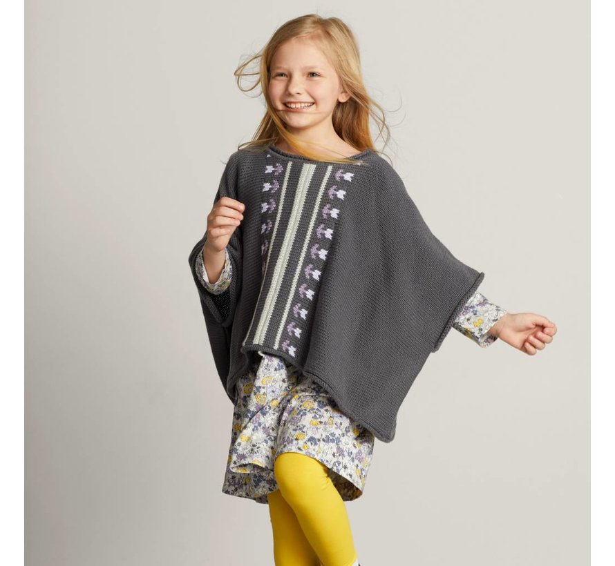 Floral Stripe Sweater Poncho