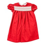 The Bailey Boys Red Corduroy Float Dress with Lace
