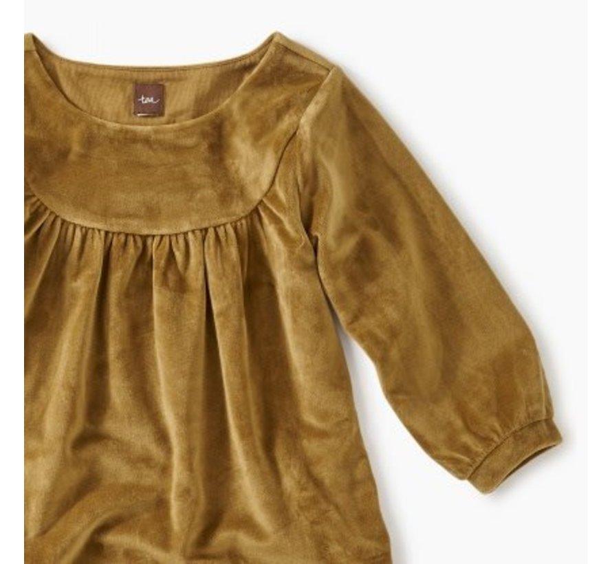 Velour Ruffle Dress in Chestnut