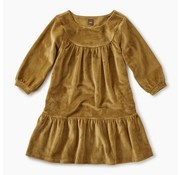 Tea Collection Velour Ruffle Dress in Chestnut