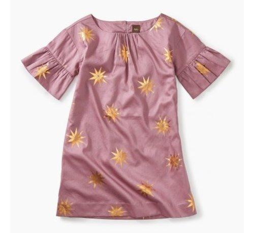 Tea Collection Ruffle Sleeve Dress Scandi Star in Blush