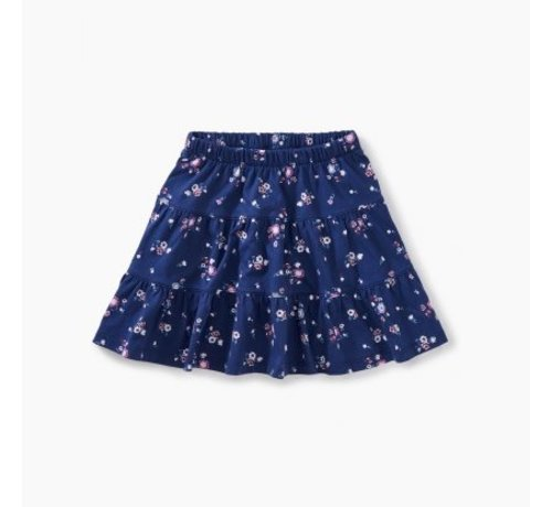 Tea Collection Floral Tiered Skirt in Winter Blooms