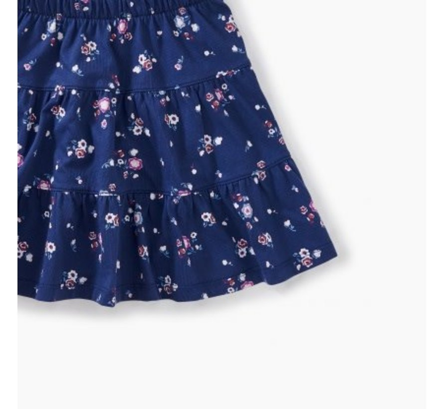 Floral Tiered Skirt in Winter Blooms