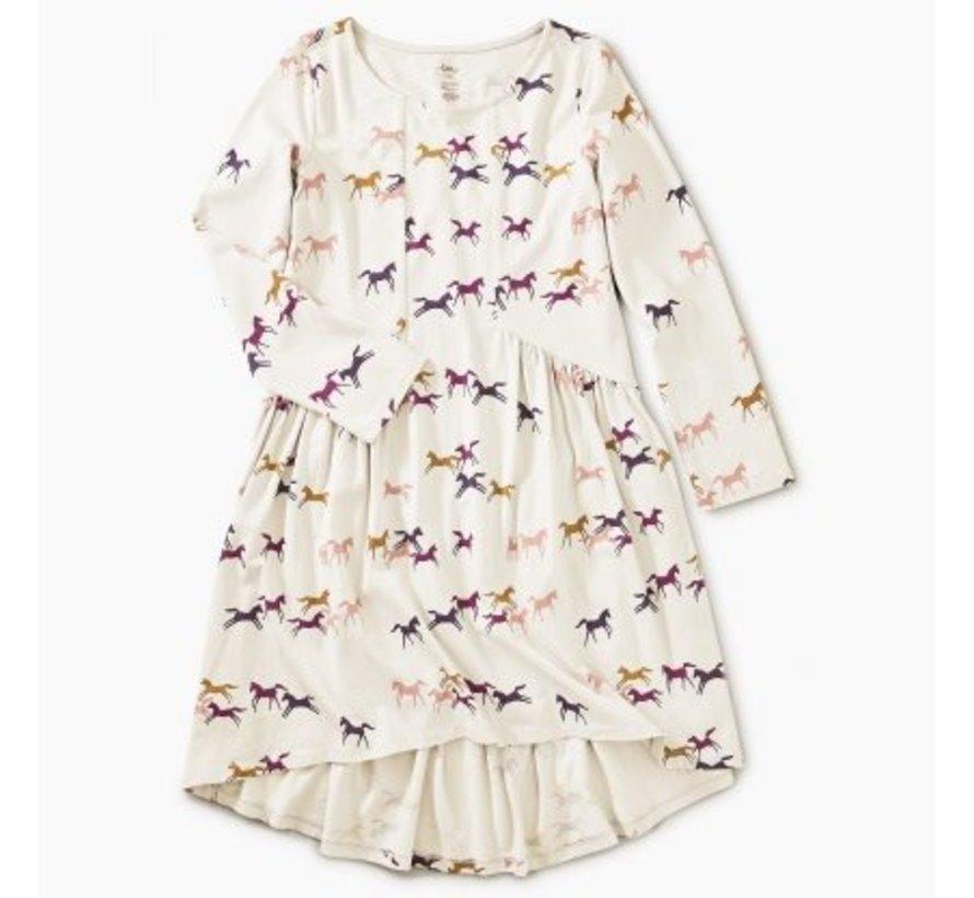 Patterned Hi-Lo Paneled Dress in Wild Horses