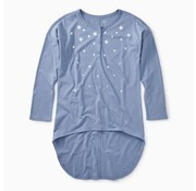 Tea Collection Star Henley Hi-Lo Top in Ultramarine