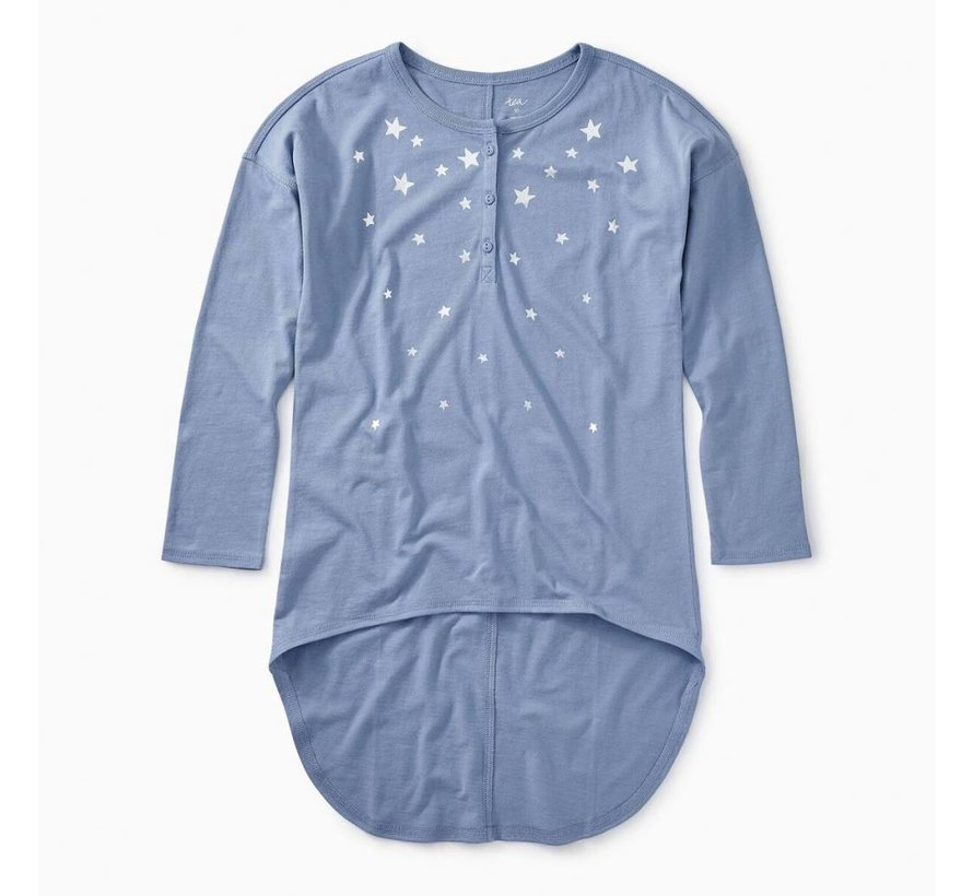 Star Henley Hi-Lo Top in Ultramarine