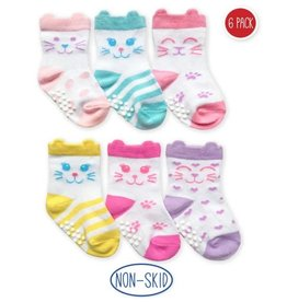 Non-Skid Cat Socks (6 pack)