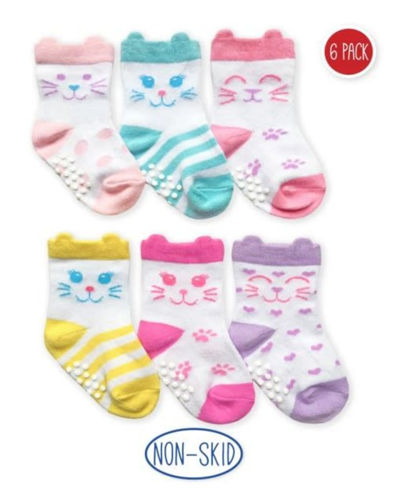 Non-Skid Cat Socks (6 pack)