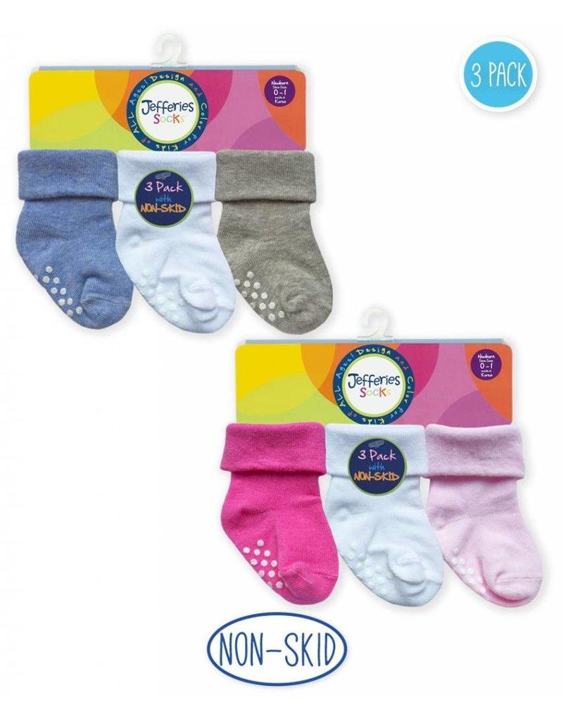 Non-Skid Turn Cuff Socks (3 pack)