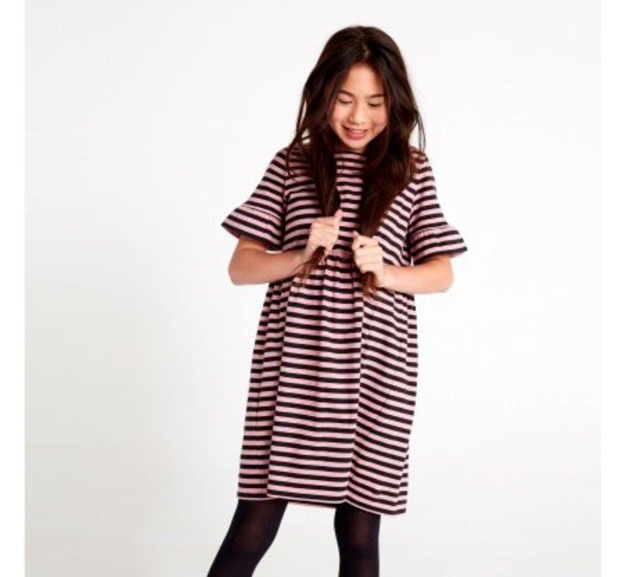 Patterned Ruffle Sleeve Dress in Roseblush