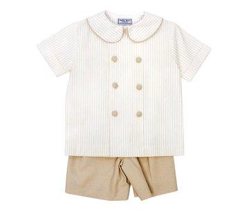The Bailey Boys Khaki Stripe Dressy Short Set
