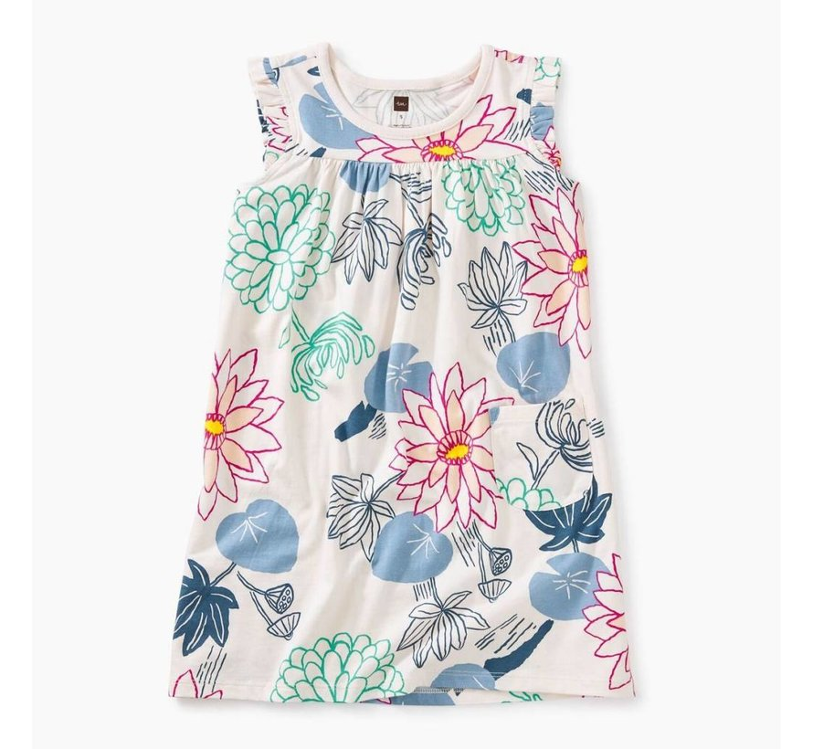 Printed Mighty Mini Dress in Lilypad Floral - Silkworm