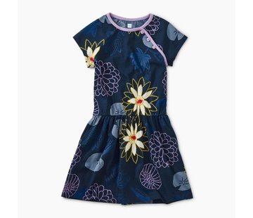 Tea Collection Printed Raglan Dress in Lilypad Floral-Indigo