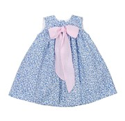 The Bailey Boys Blue Floral with Pink Ribbon Float Dress