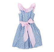 The Bailey Boys Blue Floral with Pink Ribbon Sash Dress