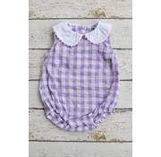 Three Sisters Lilac Gingham Seersucker Monogrammable Bubble
