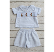 Three Sisters Chocolate Bunny Smocked Boys Shortset