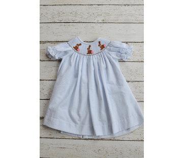 Three Sisters Chocolate Bunny Smocked Bishop Dress