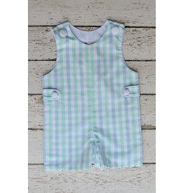 Banana Split Mint and Blue Gingham Monogrammable Jon Jon