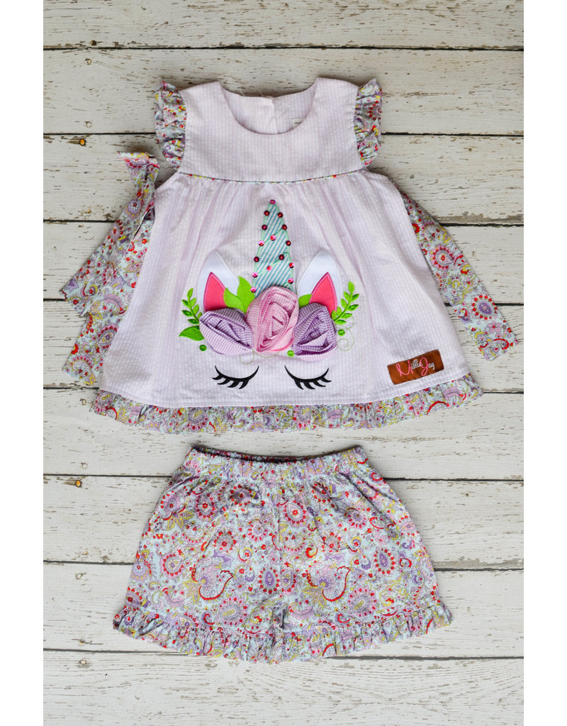 Millie Jay Unicorn Applique Tie Shortset