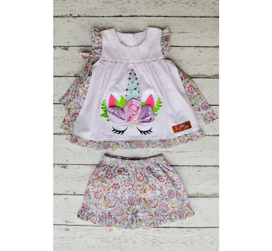 Unicorn Applique Tie Shortset