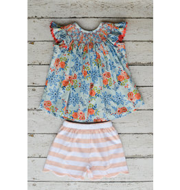 Three Sisters Bliss Bouquet Smocked Geo Bishop Top with Shorts