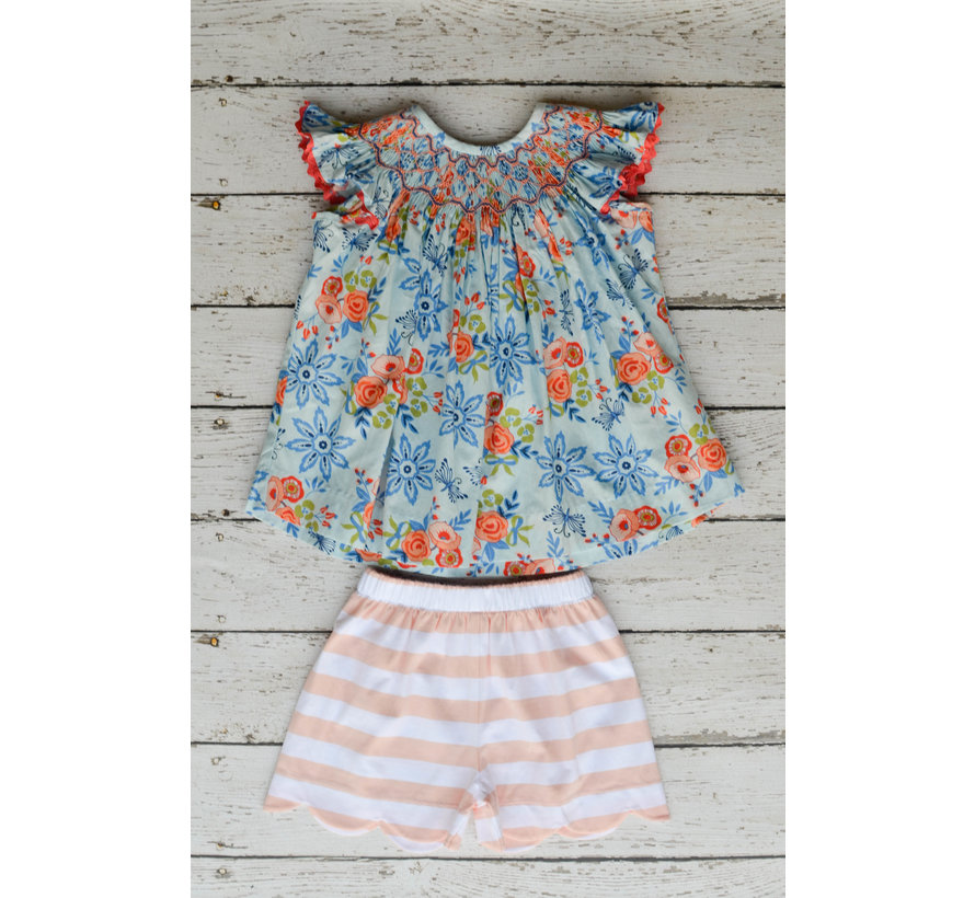 Bliss Bouquet Smocked Geo Bishop Top with Shorts