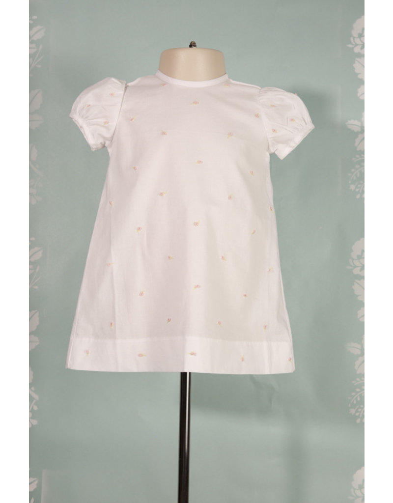 Love Me White Short Sleeve A Line Dress w/Flora Embroidery