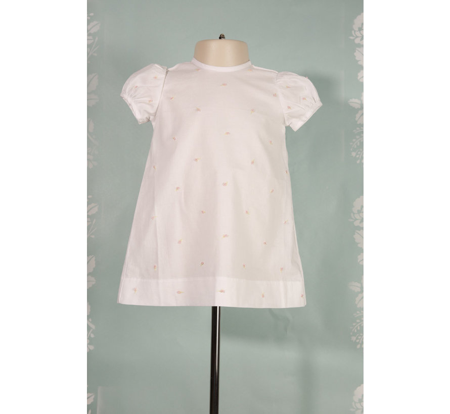 White Short Sleeve A Line Dress w/Flora Embroidery
