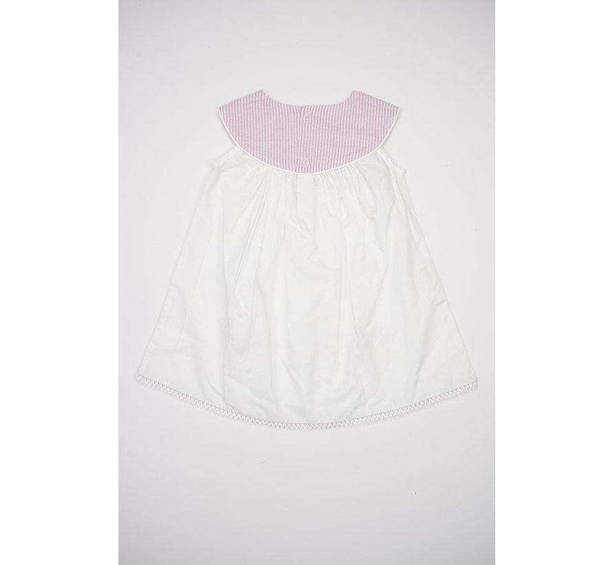 Sundress W/Pink Seersucker Yoke Collar and Floral Embroider