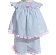 Smocked Lemonade Seersucker Angel Sleeve Short Set