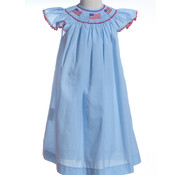 Smocked Angel Sleeve Flag Dress on Blue and White Mini Check