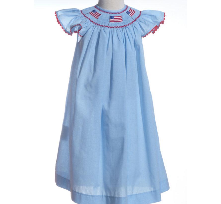 Smocked Angel Sleeve Flag Dress on Blue and White Mini Check